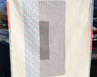 Minimalist Graphic Quilt Handmade Modern Color Block Grey and Pink Abstract Art Deco Mod Generous Throw Size Small Twin Size Cotton Quilt
