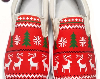 Custom Ugly Christmas Sweater Canvas Shoes