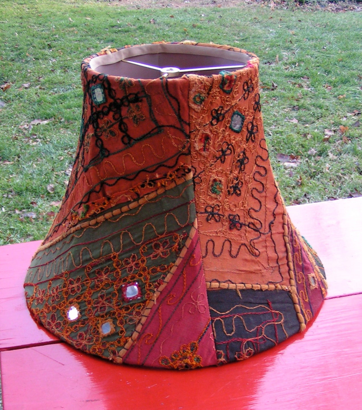 large 70s 80s indian print cloth hippie lamp shade mirrors