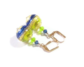 Venetian Glass Cobalt Blue Lime Green Dangle Earrings, Gold Filled Leverback Earrings, Italian Glass Jewelry, Clip Earrings