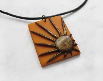 Golden Sun Polymer Clay Pendant, Sun Jewelry, Sunburst Pendant, Sunset Necklace, Sun Pendant, Sunburst Necklace, Sunset Jewelry