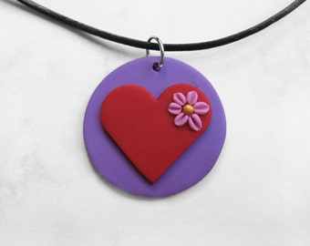 Valentine's Day Gift, Love is in the Air, Polymer clay pendant, Heart pendant, Heart jewelry, Flower jewelry, Purple jewelry, Red heart