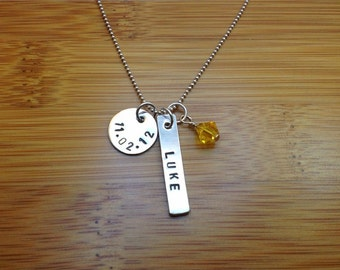 sterling silver baby birthstone date necklace - baby name necklace - birthdate necklace - baby birth necklace - baby name birth necklace
