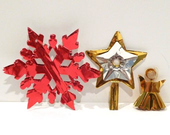 Reflector Christmas Ornament Set of Three Vintage Tree Topper Japanese Angel Snowflake Aluminum Foil / Foil Tin / Thick Foil Ornaments