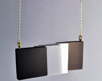 Monochrome Geometric Perspex Necklace