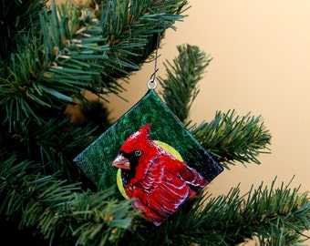 "Home Decor Christmas Cardinal 3""X3"" Hand-Painted Ornament on Wood-frame Canvas with Eye-hook"