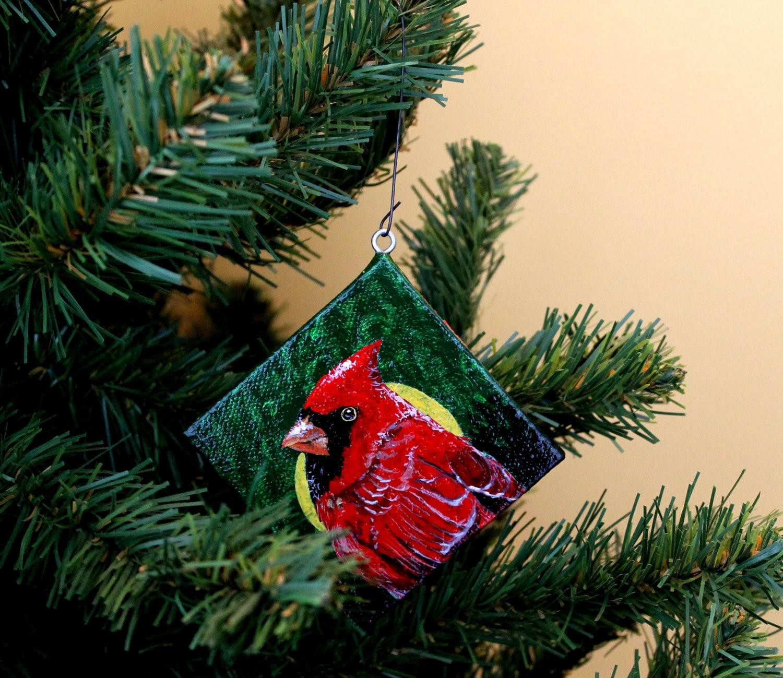 Home Decor Christmas Cardinal 3x3 Hand Painted