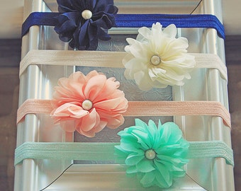 Soft Chiffon Flower Blossom Headband Set in Navy Blue, Ivory, Peach & Mint Green - Baby Girl Trendy Colored Hair Bows for All Occasions
