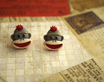 Sock Monkey Earrings -- Sock Monkey Studs, Monkey Earrings