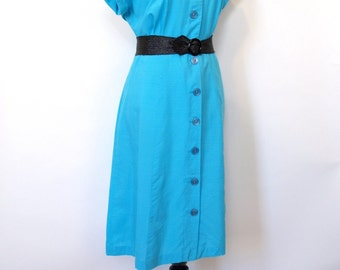 Vintage 50s classic aqua blue button up day dress size large