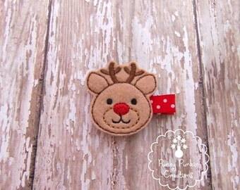 Reindeer Hair Clip, Christmas Hair Clip, Holiday Hair Clip, Embroidered Felt Hair Clip for Baby, Toddler or Girl