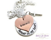 """Stamped Jewelry Personalized Jewelry  Stamped Personalized """"In Memory Of"""" Memorial Forever In My Heart Necklace"""