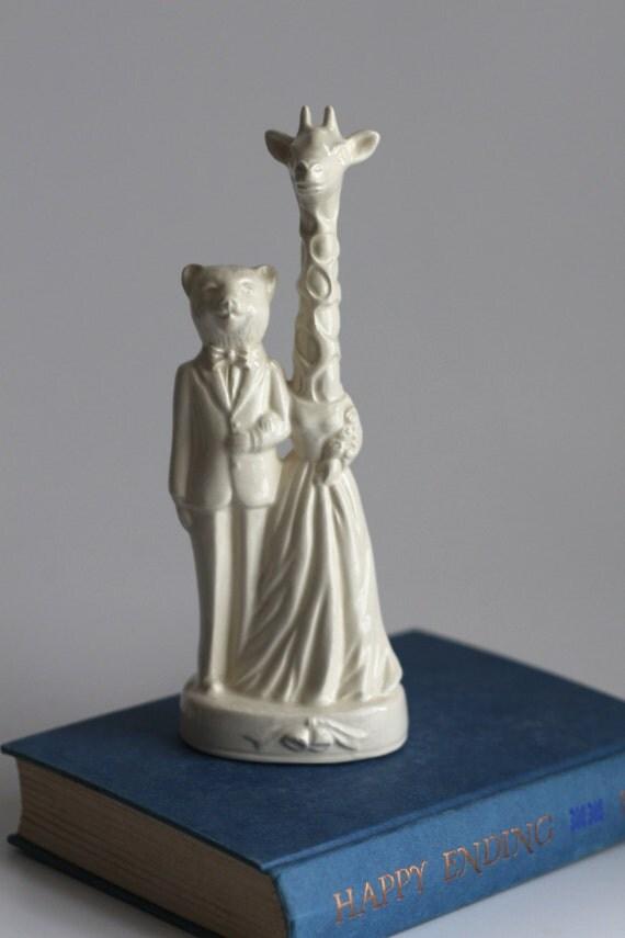 Bear Weds Giraffe Ceramic Wedding Cake Topper