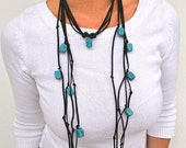 Turquoise Gypsy Jewelry, Long Cord Necklace, Summer Jewelry, Leather and Stone
