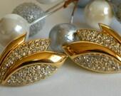 Art Deco Revival Pavé Rhinestone Post Back Earrings with Flower Fan Shape- Pierced Tulip Gold Tone Sleek Elegant Signed OR