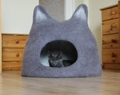 Cat bed - cat cave - cat house - eco-friendly handmade felted wool cat bed - grey with natural white - made to order