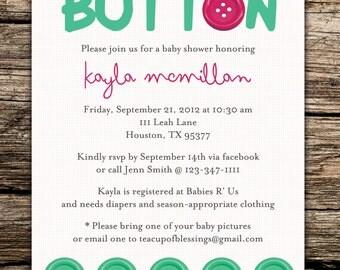 Cute as a Button Baby Shower Invitation - Digital File