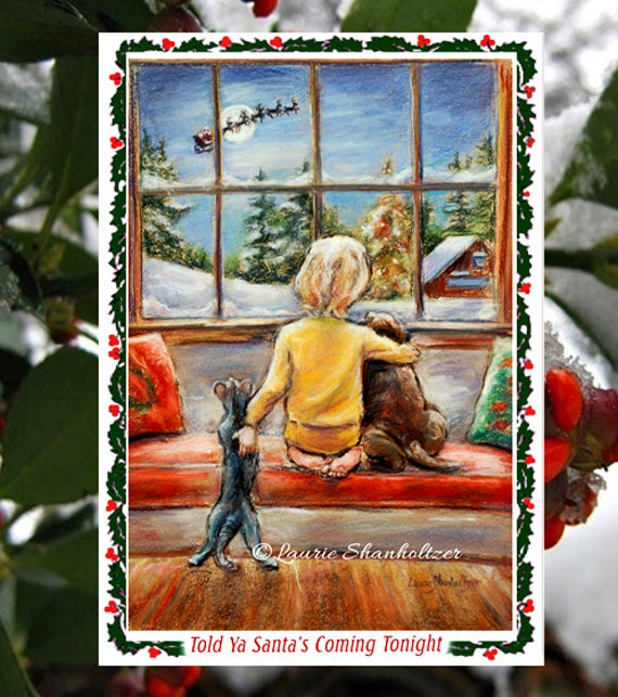 Christmas Greeting Cards Detachable 4x6 Art By