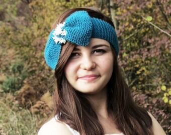 Knitted Bow Headband, Wide Bow Ear Warmer, Women's Fashion Accessory, Winter Headband, Flower Lace Headband, Knotted Bow Headband in Teal