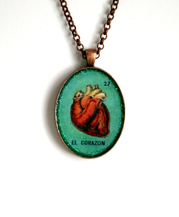 El Corazon/ The Heart- Loteria Pendant Necklace