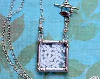 Necklace, Lace Pendant, Soldered Jewelry, White Queen Anne's Lace , Sterling Silver Chain