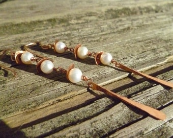Pearl and Copper Dangle Earrings