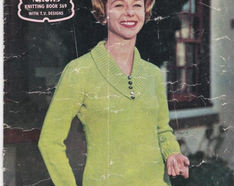 Paton's Knitting Pattern No 569 For Women/Ladies in Bluebell Crepe Knitting Wool (Vintage 1950s) Jumpers, Cardigans, Jackets, Sweaters