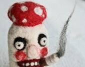 Bad Shroom Fly Agaric needle felted figurine OOAK