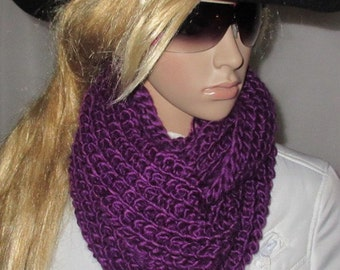 Chunky Neck Warmer -  Chunky Knitted infinity Scarf - Infinity Scarf -Chunky Scarf - Bold Knit Scarf - - Line knit - purple