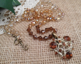 Ombre Hand Knotted Crystals ~ Vintage Topaz Crystal Pendant ~ Boho Long Necklace