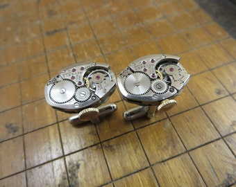 Elgin 662 Watch Movement Cufflinks. Great for Fathers Day, Anniversary, Wedding or Just Because.  #249