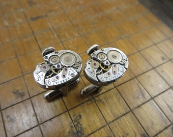 Elgin 655 Watch Movement Cufflinks. Great for Fathers Day, Anniversary, Wedding or Just Because.  #274