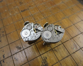 Waltham Watch Movement Cufflinks. Great for Fathers Day, Anniversary, Groomsmen or Just Because.  #277