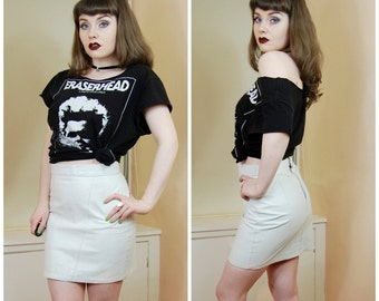 SALE 80s 90s Clubkid Biker Babe White Leather High Waisted Fitted Bodycon Pencil Mini Skirt S