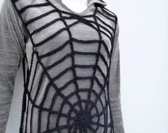 Black Tunic Top Halloween Costume Women Black Spider Web Lace Tunic Goth Halloween Fashion