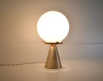 Gypsy • brass & hand blown milk glass table lamp with cloth covered cord