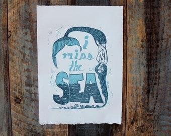 Nautical Folk Art, Mermaid Print, Beach Decor, Linocut