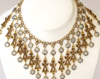 Goldette Egyptian Revival Crystal Bib Necklace Earring Set