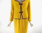 Vtg 60s Skirt Suit & Blouse Mustard Yellow With Black/White Gingham Shell Blouse - sm, med