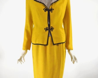 Vtg 60s Skirt Suit & Blouse Mustard Yellow With Black/White Gingham Shell Blouse - sm, med