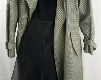 London Fog Checkered Trench Coat size 10 Large Long Black and White Checkered Coat RAIN Coat Rain Slicker