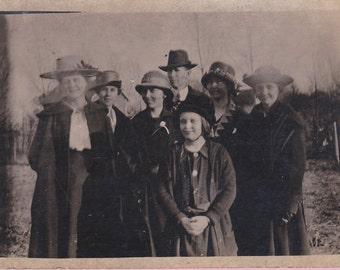 Ca. 1920's Real Photo Postcard - 7 People - 1575