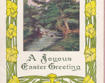 "Ca. 1908 ""Daffodils and a Pastoral Scene"" Easter Greeting Postcard - 686"