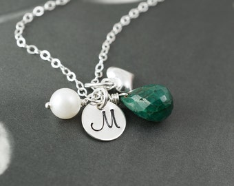 Emerald necklace, initial and birthstone necklace, mothers necklace, silver heart stamped necklace, custom initial