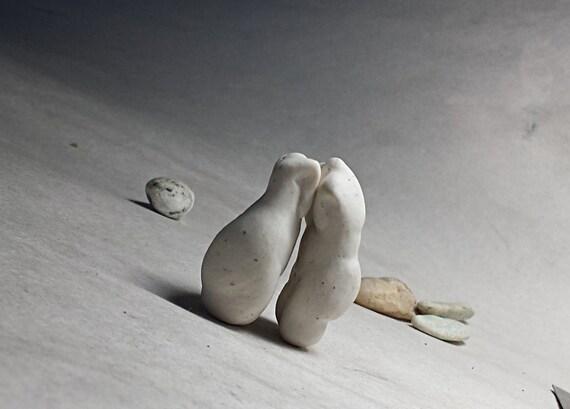 Adorable Gift for Couples Under 40.00 Dollars. Cuddle bodies in love Original Art Figure Torsos in Bisque Porcelain