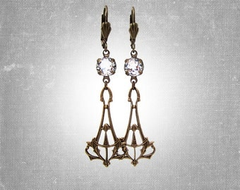 Art Deco Earrings - Bridal Jewelry - Crystal Clear Rhinestones