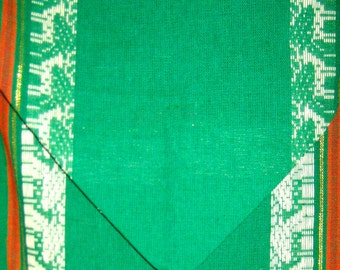 Vintage woven Christmas table runner green red with reindeer holiday decor