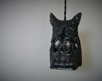SALE - Repurposed Owl Pendant Light
