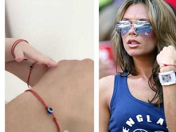 Bracelet Evil Eye en String rouge. Bracelet en fil rouge Kabbale. Oeil bleu.