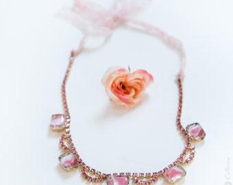 1950's Pink  Necklace -  Lace Ribbon, Rhinestone, Cat Eye Glass